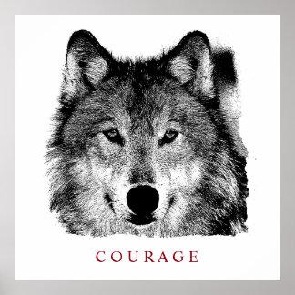 Poster Loup de motivation noir et blanc de courage