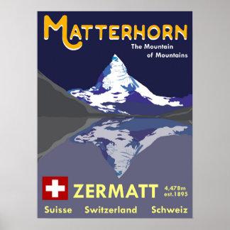 Poster Matterhorn, Zermatt, Suisse, affiche de ski