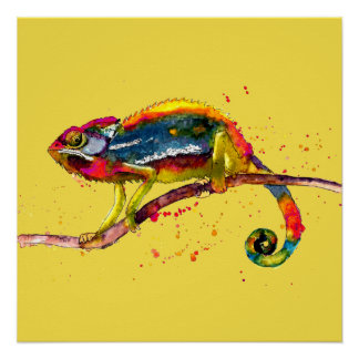 Poster mit buntem handgemaltem Chameleon