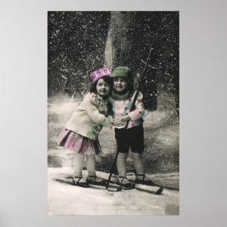 Poster Noël vintage, meilleurs amis sur des skis