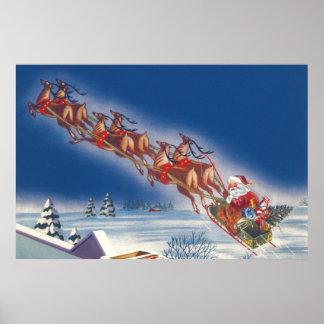 Poster Noël vintage, Père Noël pilotant le renne de