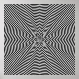 Poster Ondulations d'étoile en noir et blanc