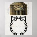Poster Plan au sol et façade du Panthéon, Rome, de