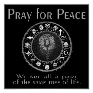 Poster Priez pour la paix en noir et blanc