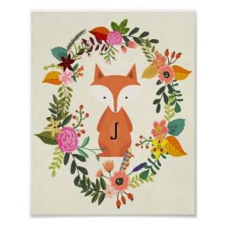 Poster renard de monogramme d'affiche de crèche