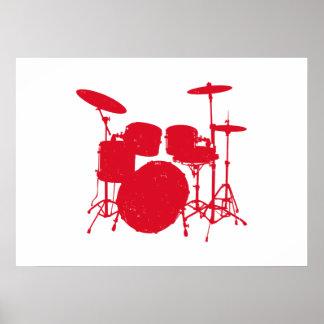 Poster Silhouette de kit de tambour