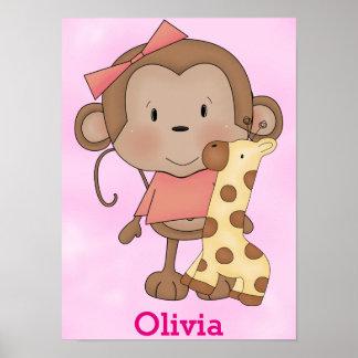 Poster Singe mignon de bébé de l'affiche de l'enfant