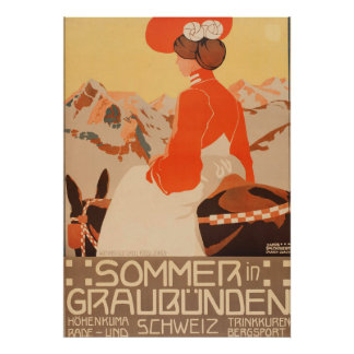 Poster Sommer et courrier vintage de voyage de Graubunden