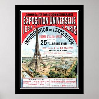 Poster vintage 1889 universel de Paris d'expositio