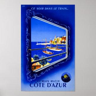 Poster vintage de Cote d'Azur reconstitué