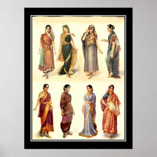 Poster vintage de l'Inde de mode