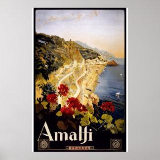 Poster Voyage rose vintage de ville d'Amalfi Italie de