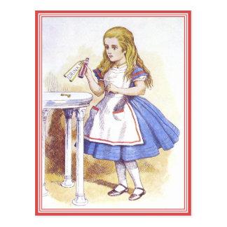 Postkarte: Alice im Wunderland - trinken Sie mich! Postkarte
