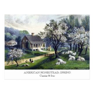 Postkarte - AMERIKANISCHES GEHÖFT: Frühling