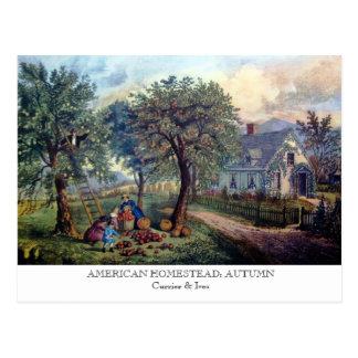 Postkarte - AMERIKANISCHES GEHÖFT: Herbst