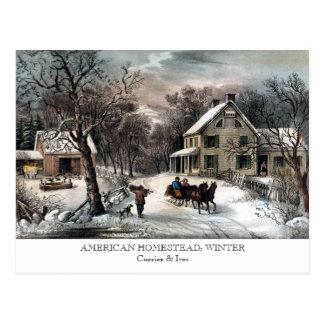 Postkarte - AMERIKANISCHES GEHÖFT: Winter