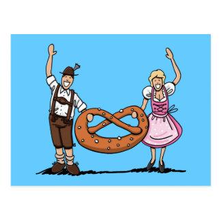 Postkarte bayerische Oktoberfest Paar-Brezel