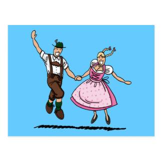Postkarte bayerisches Oktoberfest Paar-Tanzen