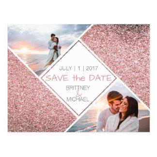 Postkarte des Rosen-GoldFoto-| Save the Date