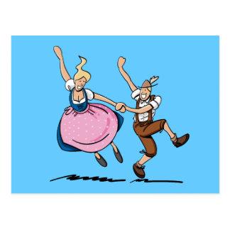 Postkarte, die bayerische Oktoberfest Paare tanzt