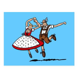 Postkarte, die bayerische Oktoberfest Paare tanzt Postkarte