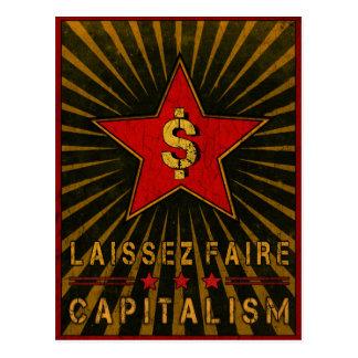 Postkarte mit Laissez Faire Kapitalismus-Grüßen