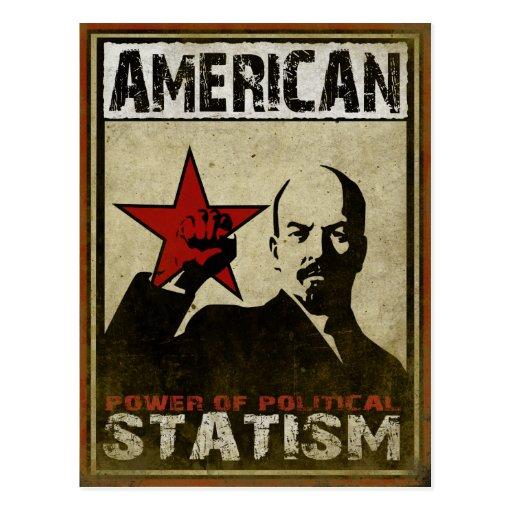 Postkarte mit politischer Warnmeldung von Statism