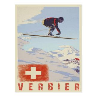Postkarte mit Vintagem Ski-Druck der Schweiz
