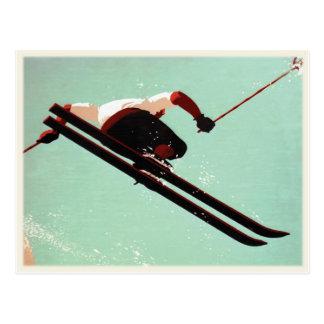 Postkarte mit Vintagem Ski-Gammler-Druck