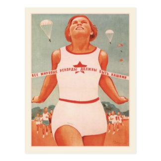Postkarte mit Vintager die Sowjetunions-Propaganda