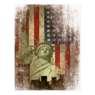 Postkarte mit Vintager New Yorkskyline-Flagge