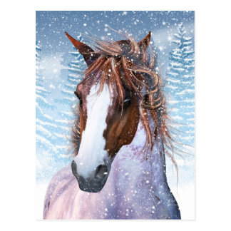 Postkarte mit Winter-Pferd im Schnee