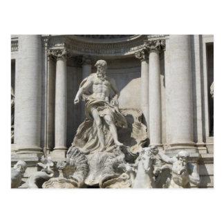 Postkarte--Trevi-Brunnen-Statue Postkarte