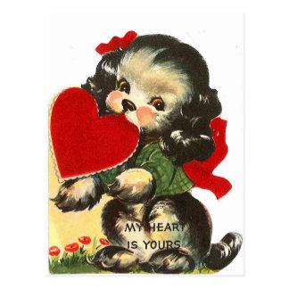 Postkarte Welpen-Herz| Vintage Valentine-|