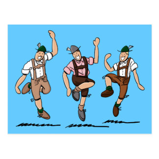 Postkartedrei tanzende Lederhosen-Bayern
