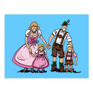 PostkarteLederhosendirndl-Bayer-Familie