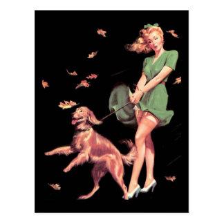 Postkarten-Button herauf Mädchen-Kunst-Vintagen Postkarte