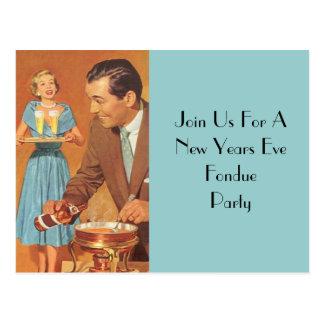 Postkarten-Fondue-Party-Retro Vintage Wirts-Paare Postkarte
