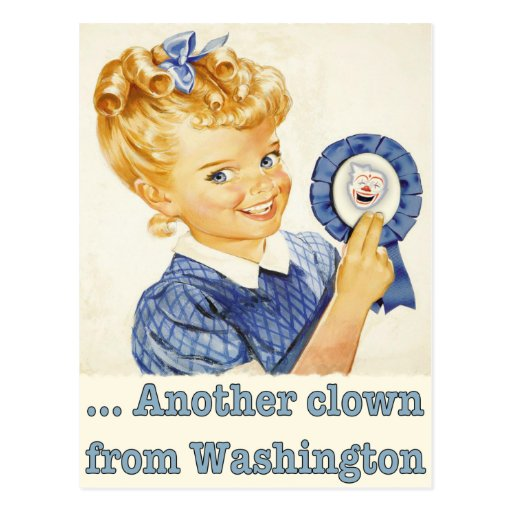 Postkarten-Grüße von einem politischen Clown