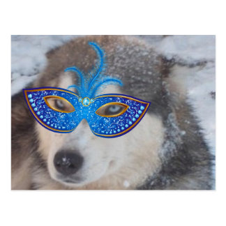 Postkarten-heisere blaue Augen-Karneval-Maske Postkarte