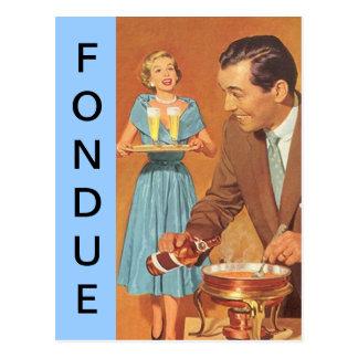Postkarten-Retro Spaß-Fondue-Party-Vintage Paare Postkarte