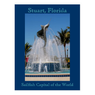 Postkarten-Segelfisch-Wasser-Brunnen Stuart, Postkarte