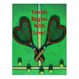 Postkarten-Sport-Spieler-Tennis fängt mit Liebe Postkarte