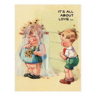 Postkarten Vintage Kunstlustige Valentines Tages