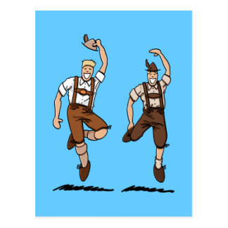 Postkartezwei tanzende Lederhosen-Bayern