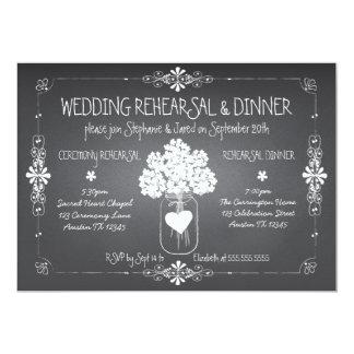 Pot de maçon de répétition et de dîner de mariage carton d'invitation  12,7 cm x 17,78 cm