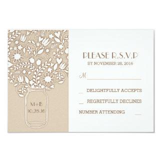 pot de maçon floral épousant des cartes de RSVP Carton D'invitation 8,89 Cm X 12,70 Cm