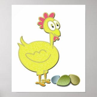 Poulet de coq d'amusement et affiche d'art d'oeufs