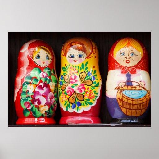 Poupées colorées de Matryoshka Posters
