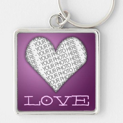 Pourpre de coeur d'amour de Keychain votre photo i Porte-clefs